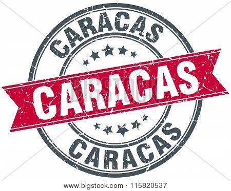 Caracas red round grunge vintage ribbon stamp