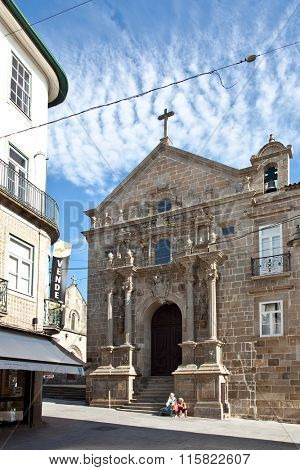 Braga, Portugal - July 27, 2015: Misericordia Church. Renaissance religious building of the 16th century in the historical center of the city.