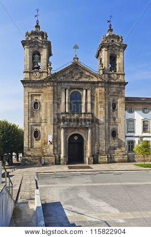 Braga, Portugal - October16, 2015: Populo Church. Mannerist, rococo and neoclassical architecture.