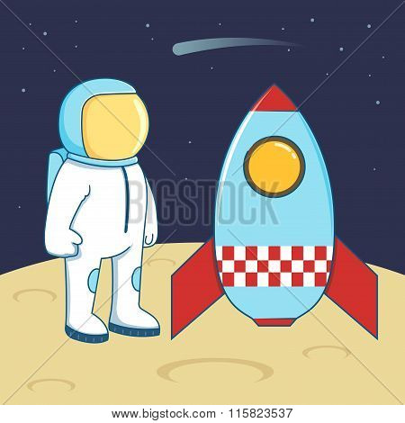 Astronaut And Space Ship Landing On Planet
