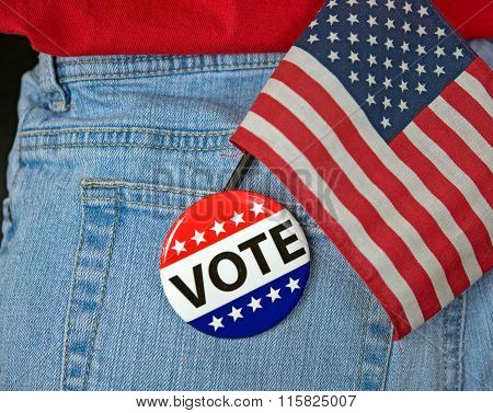 voting pin and flag in jean pocket