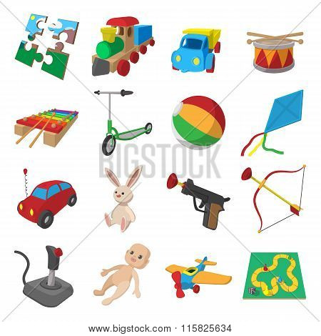 Toys cartoon icons set