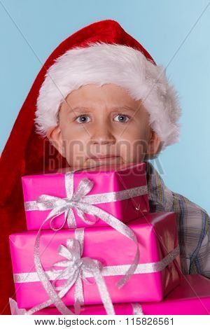 Little Boy Santa Helper Hat With Pink Gift Boxes