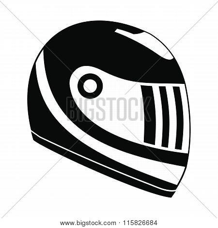 Racing helmet black simple icon