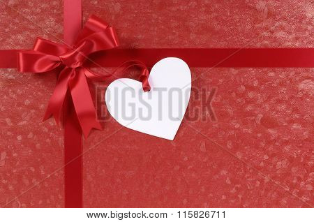 Red Valentine Gift, White Heart Shape Gift Tag Or Label, Copy Space