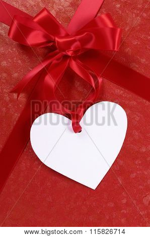 Red Valentine Gift, White Heart Shape Gift Tag Or Label, Copy Space, Vertical