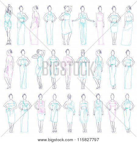 Vector illustration various evening dresses set and casual clothes skirt sundresses model in differe