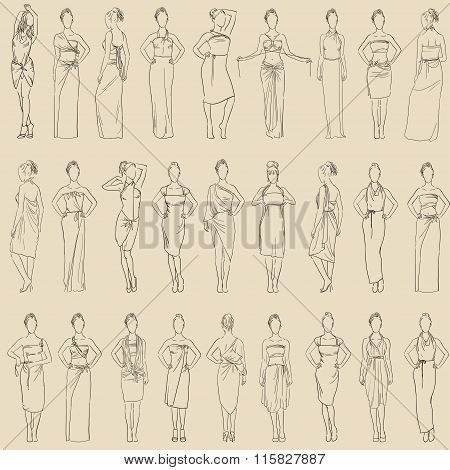 Vector seamless pattern various evening dresses set and casual dresses. Women clothes collection han