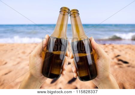 Toasting With Beer At The Snack Bar Of The Beach