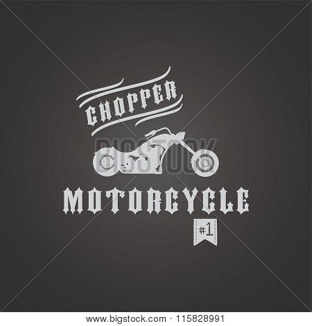 chopper motorcycle biker theme vector art illustration