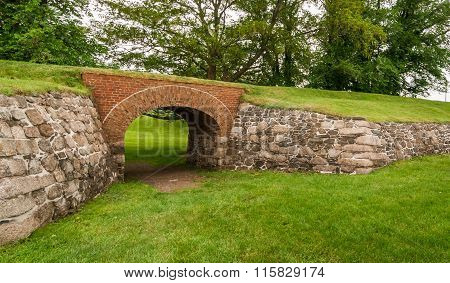 Passage through the archway at Fort Anne Park, Halifax, Nova Scotia.
