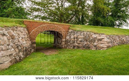 Passage through the archway at Fort Anne Park, Halifax, Nova Scotia.