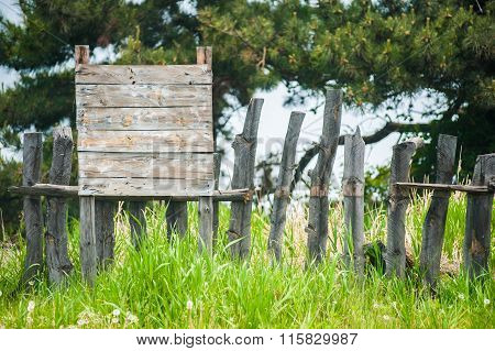 Old Fence On The Green Grass With Pine Trees As A Background Along With A Empty Sign Board