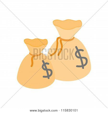 Two money bags with US dollar sign isometric icon