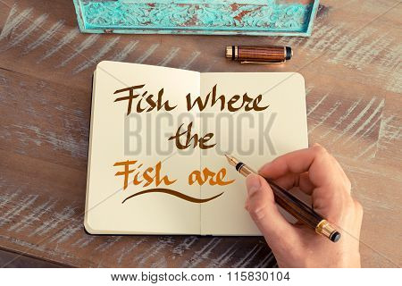 Handwritten Text Fish Where The Fish Are