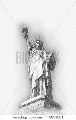 Artistic greyscale image of the Statue of Liberty in New York Harbour depicting freedom and Independence with a surrounding shadow viewed from below, 3d render