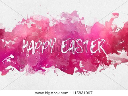 Colorful pink Happy Easter design template on an abstract band of hand painted watercolor paint with splash effect on textured white paper with copy space