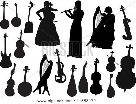 illustration with three musicians and musical instruments isolated on white background