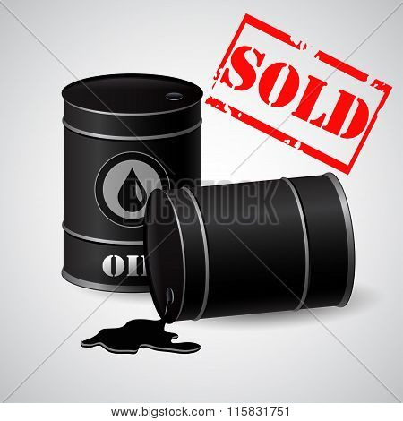 Oil barrels with asold banner