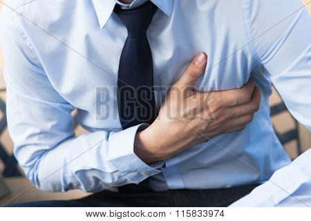 Man In Office Uniform Having Heart Attack / Heart Burn