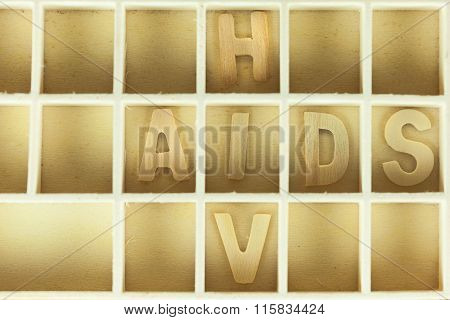 Hiv And Aids Puzzle In The Box (with Shadow Inside Text)