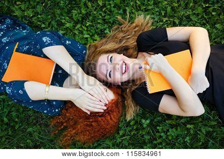 Best Girlfriends Lie On The Lawn.