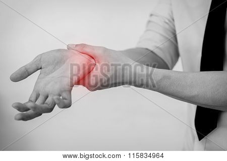 Office Man Touching Painful Wrist. Pain In A Man Wrist.