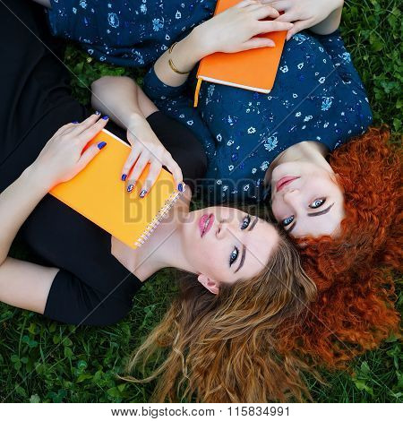 Best Friends Are Students Together On Lawn.