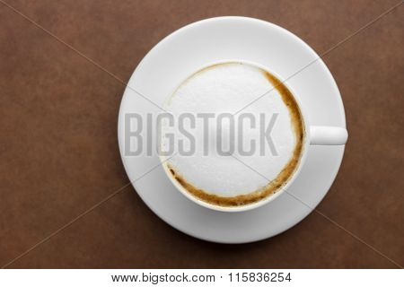 Top View Of Cappuccino Coffee.