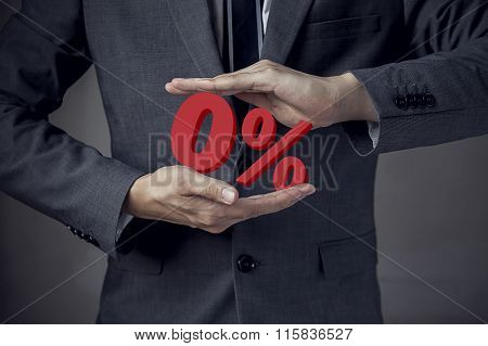 Business Man Presenting Zero Percent, Indicating Zero Interest And Other Financial Percentage