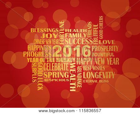 2016 Chinese New Year English Greetings Red Background Illustration