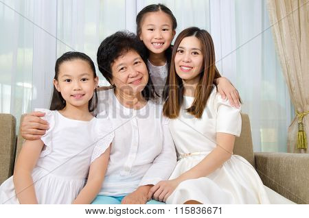 Asian Senior Woman Together With Daughter And Granddaughters