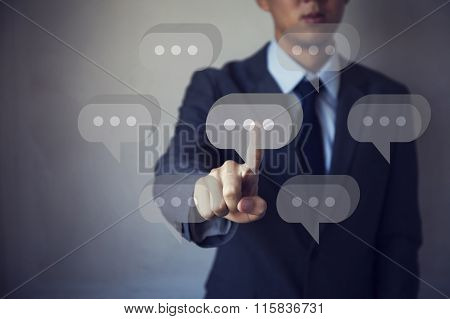 Asian Businessman On Hand Pressing On Screen Concept