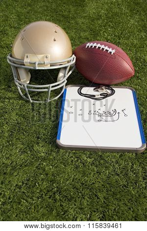 Football Helmet Ball Clipboard And Whistle Portrait