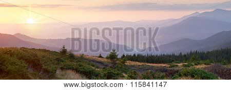 Horizontal Panorama of Mountain range at the beautiful sunrise time, amazing view