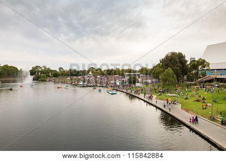 Crowded Elder Park In Adelaide