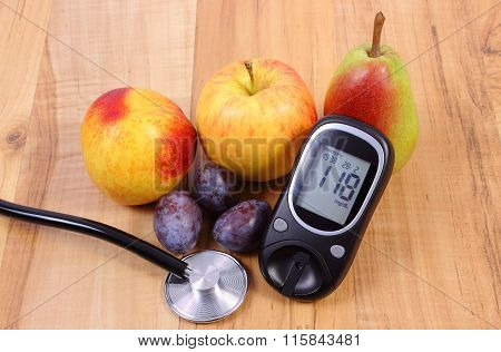 Glucose Meter With Medical Stethoscope And Fresh Fruits, Healthy Lifestyle