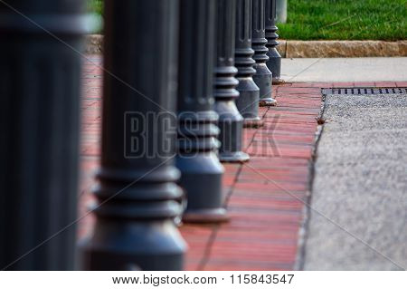 Bollards with round tops in a park -Asheville, North Carolina
