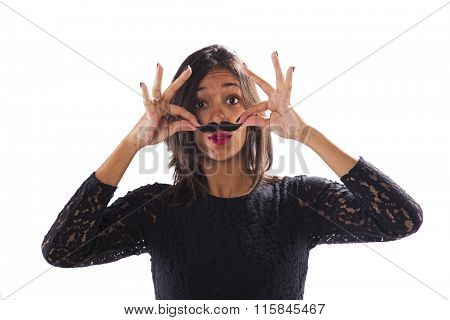 Young woman with a fake mustache