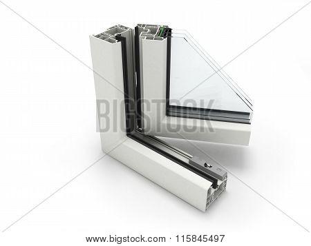 Open Plastic Window Profile Isolated On White
