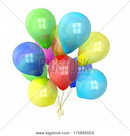 Bunch Of Floating, Colorful Balloons Shot On White Background With Space For Copy