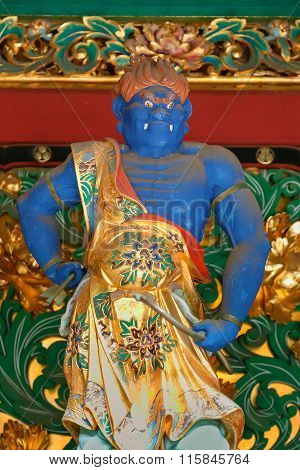 NIKKO, JAPAN - NOVEMBER 17, 2015: Umarokya - One of the four guardians at the Yashamon Gate of  Taiyuinbyo - the Mausoleum of Shogun Tokugawa Iemitsu, the grandson of Ieyasa : the first Shogun of the Tokugawa clan