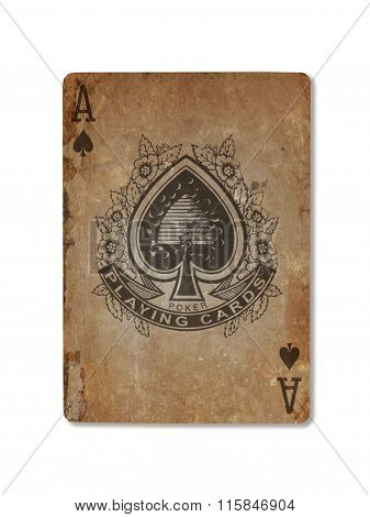 Very Old Playing Card, Ace Of Spades