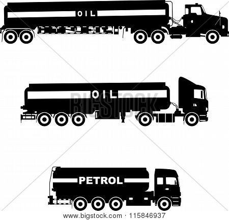 Set of different silhouettes gasoline trucks isolated on a white background. Vector illustration.