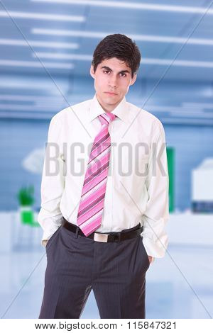 Portrait of business man in suit at the office lobby