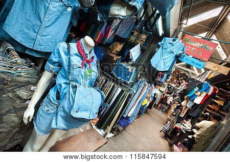 Vintage Denim Clothing At Chatuchak Weekend Market, Bangkok