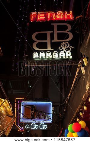 Neon Signs Outside Sex Bars At Patpong Red Light Area, Bangkok