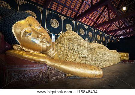 Reclining Buddha At Wat Chedi Luang In Chiang Mai, Thailand