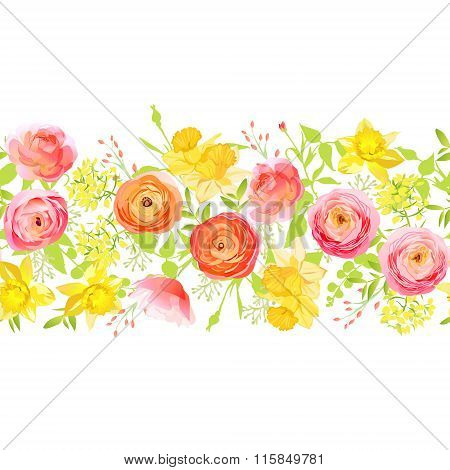 Spring Roses, Ranunculus, Narcissus Seamless Vector Horizontal Banner