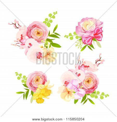 Beautiful Gift Bouquets Of Roses, Ranunculus, Orchid, Narcissus Vector Design Elements